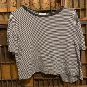 Lightly distressed cropped, striped T-shirt